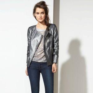 Trouve Metallic Leather Jacket in Pewter /Gunmetal
